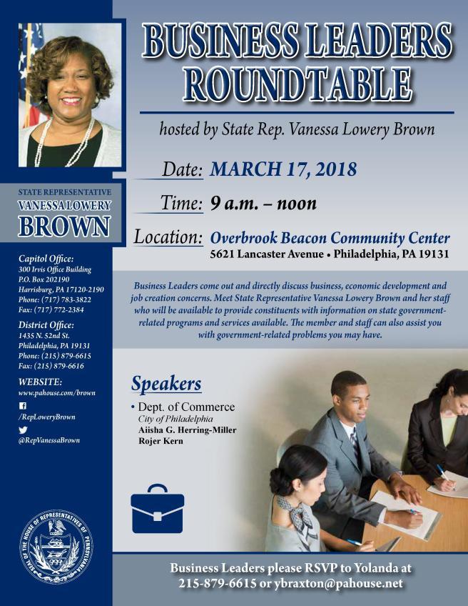 LA21 Business Roundtable flyer 03.17.18
